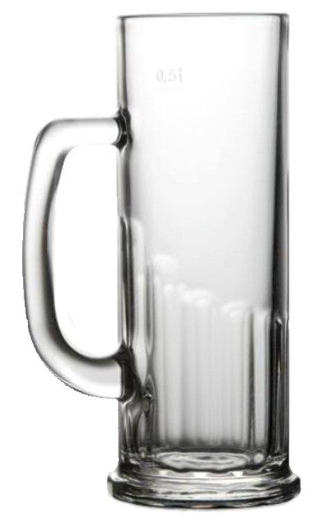 Pivní půllitr John 500, sklenice na pivo, reklamní půllitr, reklamní sklo, půllitr s potiskem, půllitr s logem, pískování do skla, barevné sklenice, barevné sklo