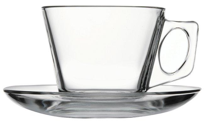 Reklamní skleněný hrnek Tara 215, skleněný šálek s podšálkem, reklamní sklo, skleněný hrnek s potiskem, skleněný hrnek s logem, pískování do skla, barevné sklenice, barevné sklo
