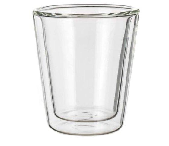 Skleněný hrnek Dopio 170, reklamní sklo, skleněný hrnek s dvojitou stěnou, skleněný hrnek s potiskem, skleněný hrnek s logem, pískování do skla, barevné sklenice, barevné sklo