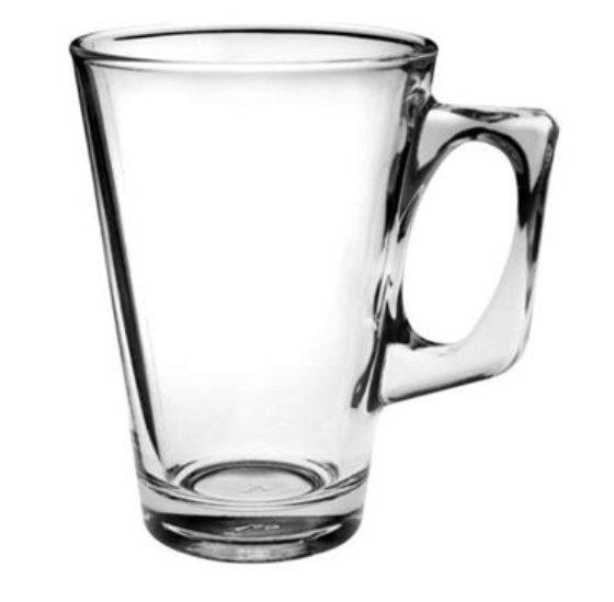 Reklamní sklenice Tara 250, sklenice na Latte, reklamní sklenice, reklamní sklo, sklenice s potiskem, sklenice s logem, pískování do skla, barevné sklenice, barevné sklo