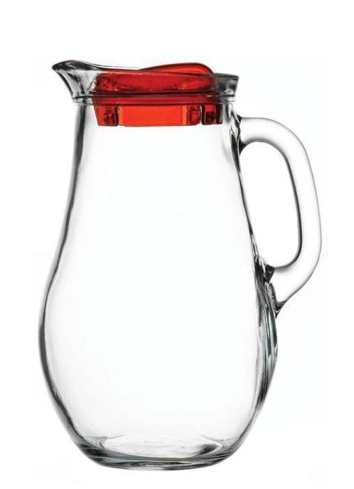 Džbán Bera 1850 s víkem, reklamní džbán, reklamní sklo, sklo s potiskem, džbán s logem, pískování do skla, barevné sklenice, barevné sklo